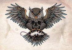 12 Owl Tattoo Old School