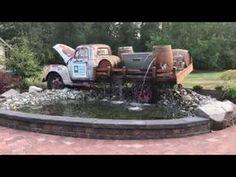 Backyard Water Fountains, Diy Garden Fountains, Backyard Water Feature, Ponds Backyard, Backyard Patio, Goldfish Pond, Garden Waterfall, Water Features In The Garden, Unique Gardens