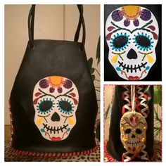 Dia de los muertos bucketbag - animal friendly, faux leather, handmade Fashion Backpack, Animal, Creative, Leather, Handmade, Bags, Day Of The Dead, Handbags, Hand Made