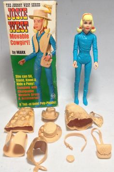 MARX JOSIE WEST MOVABLE COWGIRL JOHNNY WEST ACTION FIGURE DOLL + ORIGINAL BOX +