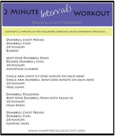 2 Minute Intervals Workout Back and Chest www.happybeinghealthy.com