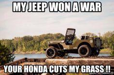 Jeep vs. Honda Humor Jeep Jk, Jeep Wrangler Tj, Jeep Truck, Jeep Wrangler Unlimited, Jeep Wrangler Quotes, Jeep Rubicon, Pickup Trucks, Truck Memes, Car Jokes