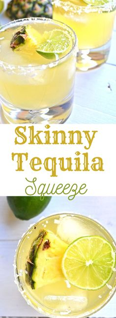 Skinny Tequila Squeeze - Little Bits of. This Skinny Tequila Squeeze is the perfect way to have a drink without the guilt! Coconut water, pineapple juice and lime make a super refreshing mix! Refreshing Drinks, Fun Drinks, Yummy Drinks, Simple Tequila Drinks, Mixed Drinks With Tequila, Blended Drinks, Party Drinks, Cocktail Drinks, Cocktail Recipes
