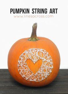no-carve pumpkin--string art