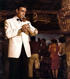 Sean Connery in Goldfinger. It takes a special kind of secret agent to pull off a white tuxedo