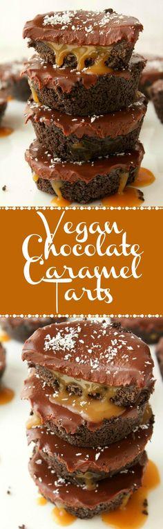 Vegan No-Bake Chocolate Caramel Tarts. A crushed oreo cookie base, with a gooey caramel center and chocolate ganache topping! Vegan   Vegan Desserts   Vegan Food   Vegan Recipes