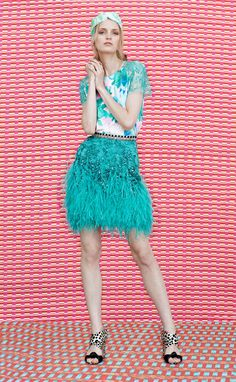 Matthew Williamson Resort 2015 turquoise feather fringed skirt