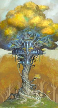 Fairy tree house illustration treehouse 27 ideas for 2019 Fantasy City, Fantasy Kunst, Fantasy Places, Fantasy World, Fantasy Art Landscapes, Fantasy Landscape, Fantasy Artwork, Tolkien, Fairy Tree Houses