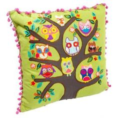 """Embroidered cotton pillow with pompom trim and a multicolor owl motif.    Product: PillowConstruction Material: CottonColor: GreenFeatures: Insert includedDimensions: 16"""" x 16""""Cleaning and Care: Spot clean"""