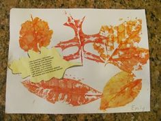 Red Leaf Yellow Leaf by Louis Ehlert. Preschool age. Leaf collage. The children will collect leaves and other materials to crest a collage. FA.1.55 Show individuality in artwork. SC.1.80 Explore objects with various properties (e.g., color, sound, texture, shape).