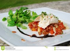 Photo about Italian gourmet cuisine: black rice risotto and fish salad. Image of nutrition, kitchen, risotto - 24621980 Fish Salad, Black Rice, Italian Recipes, Cod, Risotto, Nutrition, Breakfast, Kitchen, Gourmet