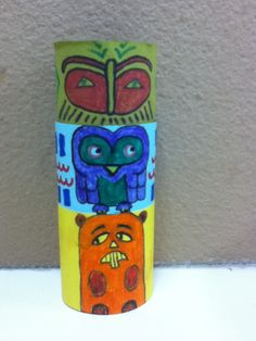 Totem pole craft using toilet paper rolls and choice of crayons, markers, and/or paints. Can also add wings to decorate.