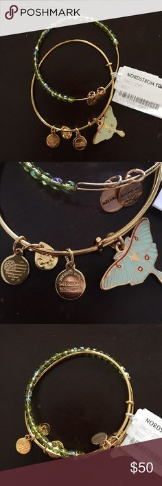 Super rare Alex and Ani Luna bracelet set Really beautiful and rare authentic Alex and Ani 2016 Luna moth and green beaded bracelet set. Brand new. Alex & Ani Jewelry Bracelets