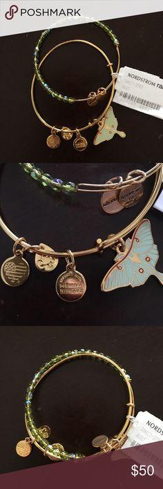 Super rare Alex and Ani Luna bracelet set Really beautiful and rare authentic Alex and Ani 2016 Luna moth and green beaded bracelet set. Brand new. Alex & Ani Jewelry Bracelets