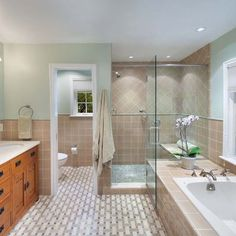 Master Bath Layout:: Glass shower, enclosed toilet and double vanity