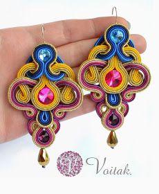 Soutache Jewelry. Artystyczna Biżuteria Autorska Katarzyna Wojtak: #0043 Peces de Colores. Kolczyki sutasz.