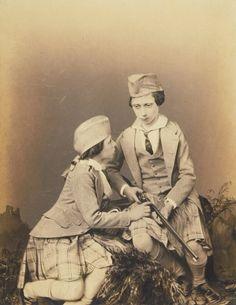 The Prince of Wales and Prince Alfred, Osborne 1855 [in Portraits of Royal Children Vol.1 1848-1854] | Royal Collection Trust