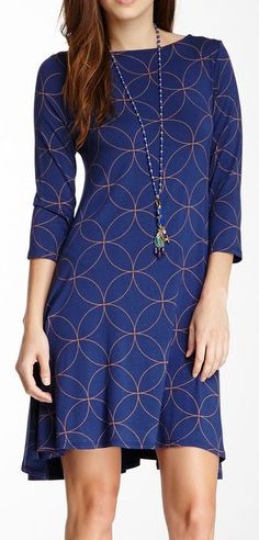 Long Sleeve Dress with blue and gold geometric pattern