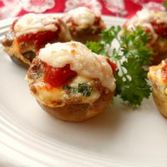 "Lasagna-Stuffed Mushrooms | ""I had a friend who is allergic to gluten in town last weekend so I tried this recipe. My whole family thought it was delicious and they can picky eaters."""