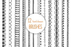 12 DOODLE Hand drawn AI brushes by ilonitta on Creative Market