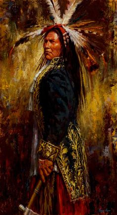 "James Ayers, painter of Native American Cultures, presents ""Proud American"" a powerful image of a Lakota man wearing a Revolutionary War-era military jacket. Native American Paintings, Native American Pictures, Native American Beauty, Native American Artists, American Indian Art, Native American History, Native American Indians, Western Artists, Indian Artwork"
