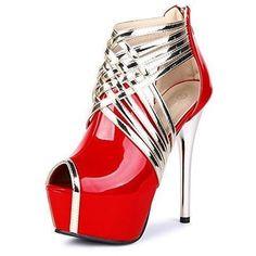 Super High Fashion Peep Toe Stripe Sandals Heels #coolshoeshighheels