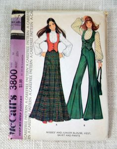 Vintage 1970s sewing pattern McCall's 3800 by momandpopcultureshop