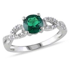 Emerald and Diamond Accent Ring in 10K White Gold