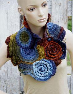 Crochet Scarf Neck Warmer Brown Green blue navy blue by Chunky Crochet Scarf, Freeform Crochet, Irish Crochet, Crochet Puff Flower, Crochet Flower Patterns, Crochet Flowers, Crochet Gifts, Diy Crochet, Modern Crochet