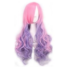Pink Inclined Bang Harajuku Gradient Long Wavy Anime Cosplay Wig (£17) ❤ liked on Polyvore featuring beauty products, haircare, hair styling tools, hair, wig and pink