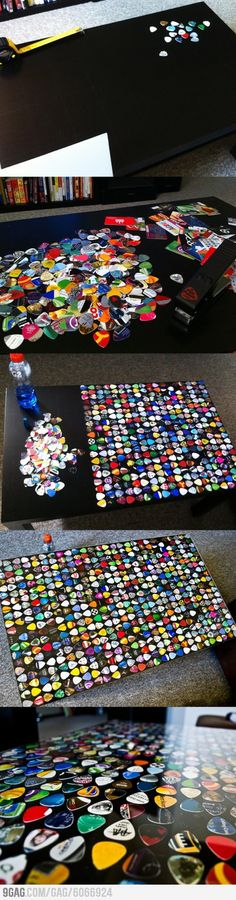 Guitar pick coffee table (with the help of the guitar pick cutter, pictured in Awesome Things.)