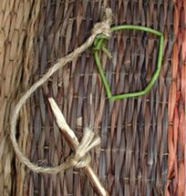 Wampanoag game made with a twig, twine, and a vine