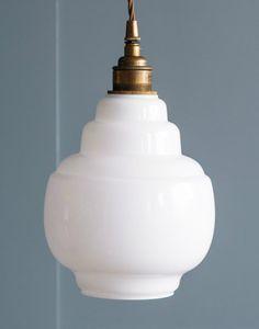 Barrel opal glass pendant - Holloways of Ludlow