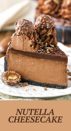 This Nutella Cheesecake is thick, creamy, rich and flat out amazing! It's baked in an Oreo crust and topped with Nutella ganache and I'm totally obsessed with salted butter, melted.Please visitNUTELLA CHEESECAKE for full recipes. Food Cakes, Cupcake Cakes, Cupcakes, No Bake Desserts, Delicious Desserts, Dessert Recipes, Cold Desserts, Chocolate Cheesecake Recipes, Oreo Nutella Cheesecake