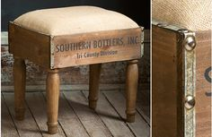 This beautifully crafted vintage inspired foot stool is made from wooden crates. Each wooden foot stool features a soft cushion and a distinctive appearance to add rustic charm to any space! For more visit, www.decorsteals.com OR www.facebook.com/decorsteals.