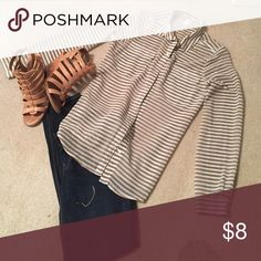 Old Navy Blouse Brown with a bluish tint stripes.  Excellent condition.  Worn twice-no snags or stains. If you would like to see additional pics or have questions, let me know. Old Navy Tops Blouses