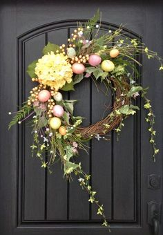 Spring Wreath Easter Egg Wreath Summer Wreath Grapevine Door Wreath Decor