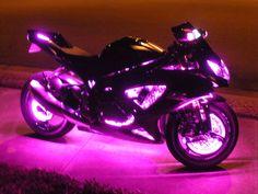 Led Light Kit For Motorcycle Rims Pink Motorcycle, Motorcycle Lights, Futuristic Motorcycle, Motorbike Girl, Custom Street Bikes, Custom Sport Bikes, Fancy Cars, Cute Cars, Street Racing Cars