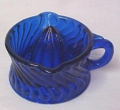 *DREPRESSION GLASS ~ Cobalt Blue  Small Swirl Ribbed Handled