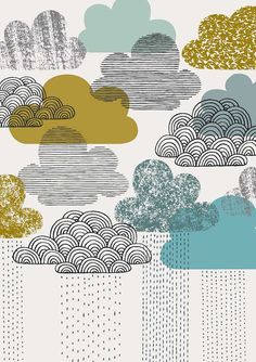 Love them: Vintage Clouds, limited edition giclee print Design, Printmaking, Drawings, Illustration Art, Art, Artsy, Prints, Giclee Print, Textures Patterns