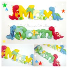 Dinosaur themed felt name banner/garland/chain.  Love the bright colours!