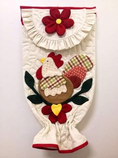 No pattern just inspiration Fabric Crafts, Sewing Crafts, Craft Projects, Sewing Projects, Diy And Crafts, Arts And Crafts, Plastic Bag Holders, Chickens And Roosters, Christmas Stockings