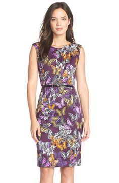 EllenTracy Belted Print ScubaKnit Sheath Dress   Nordstrom