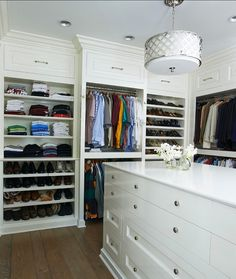 Closet with Island Design. Great walk-in closet with island. #Closet #Island #Interiors