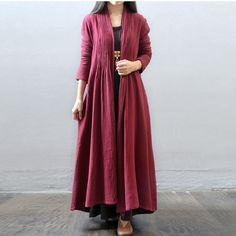 Women autumn and winter cotton  loose long coat - $89.00