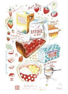 La Recette de la Tarte aux Fraises / The Strawberry Pie Recipe by Lucile Prache. / #illustration