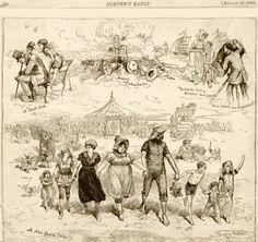 1880's beaches | Illustration from Harper's Bazar August 28, 1880.