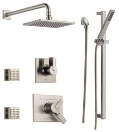 View the Delta DSS-Vero-1703 Monitor 17 Series Dual Function Pressure Balanced Shower System with Integrated Volume Control, Shower Head, 2 Body Sprays and Hand Shower - Includes Rough-In Valves at FaucetDirect.com.