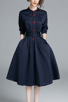 Dark Navy Buttons Flared Dress