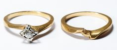 Lot 167: 14k Gold and Diamond Rings; Two rings, including a 14k marked engagement ring having a round cut diamond weighing approximately 0.10CT and wedding band